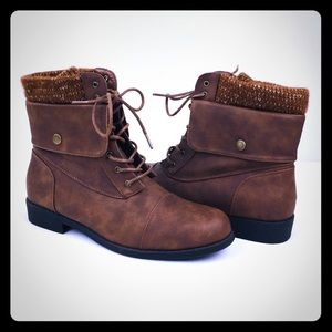 Just Fab Womens Brown Lace-Up Small Heeled Boots